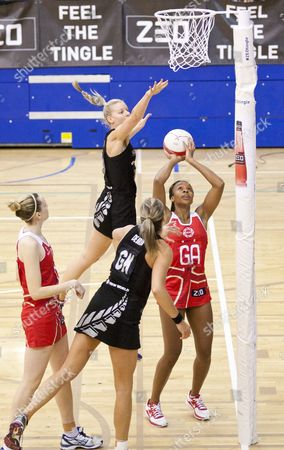 Pamela Cookey of England Tries to Score Being Pressured by Katrina Grant of New Zealand Gb London