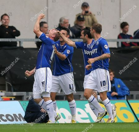 Chesterfield's Ritchie Humphreys Celebrates Scoring the Opening Goal with Team-mates Gb Oxford