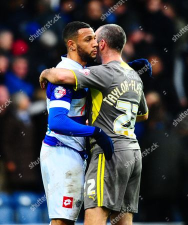 Gary Taylor-fletcher of Leicester City Hugs Former Blackpool Team Mate Matty Phillips of Qpr at Full Time Gb London