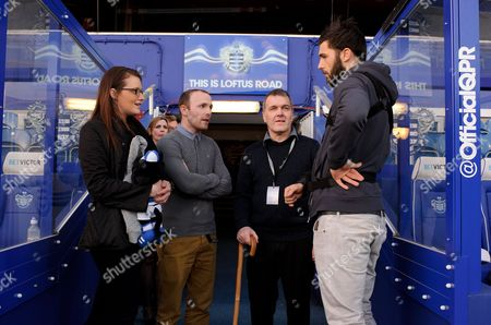 Charlie Austin of Qpr Talks with Tony Mills and His Family - Qpr Fan Mills Was Recently Diagnosed with Terminal Brain Cancer and Was Presented with Vip Tickets to What May Be His Last Ever Match by Joey Barton Who Personally Delivered the Tickets to His Ho Gb London