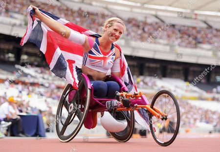 Melissa Nicholls of Great Britain Poses with the Union Jack Flag After the 100m Women T33/34 Final United Kingdom London