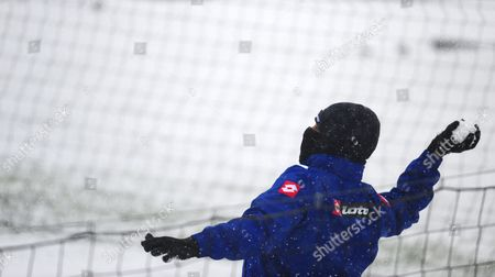 Dj Campbell of Qpr Throws A Snowball Ahead of Training United Kingdom London