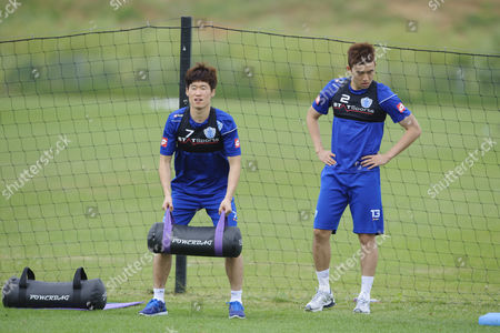 Ji-sung Park with Suk-young Yun of Qpr in Training United Kingdom London