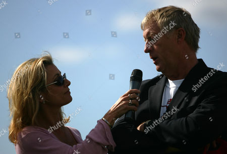 Television celebrity Chris Tarrant is interviewed by Suzanne Dando to publicise a charity walk