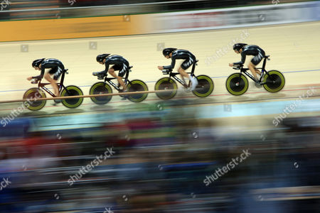 Wesley Gough of New Zealand Leads Peter Latham Followed by Marc Ryan and Jesse Sergent in the 4000m Men's Team Pursuit at the World Track Cycling Championships in Poland Poland Pruszkow