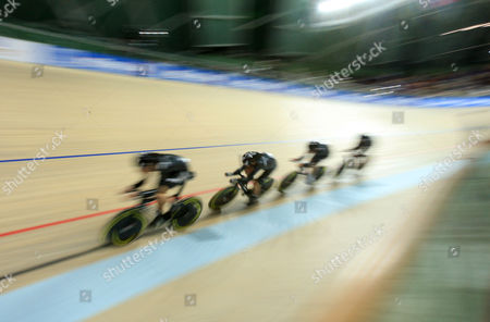 Wesley Gough of New Zealand Leads Peter Latham Followed by Marc Ryan and Jesse Sergent As They Secure A Bronze Medal in the 4000m Men's Team Pursuit at the World Track Cycling Championships in Poland Poland Pruszkow