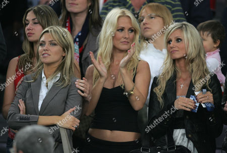 Abbey Clancy (l), girlfriend of Peter Crouch of Liverpool, Amii Grove (centre), girlfriend of Jermaine Pennant and Maria, girlfriend of John Arne Riise