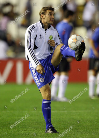 Andriy Schevchenko of Chelsea warms up before the match but will start from the bench