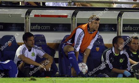 Andriy Schevchenko of Chelsea helps from the bench