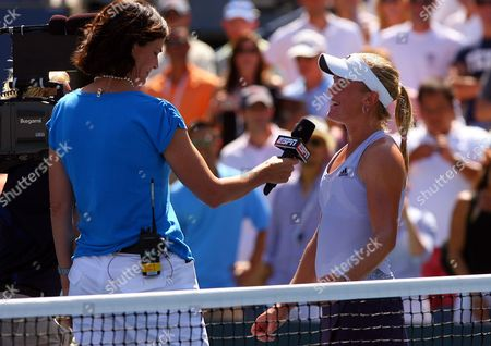 Melanie Oudin of Usa is Interviewed by Pam Shriver Following Her Win at the Us Open Flushing Meadows 2009 United States New York