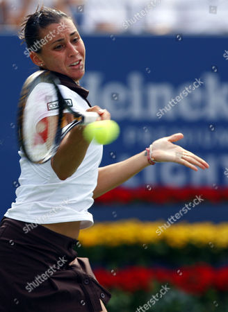 Flavia Pannetta of Italy in Action During Her Match Versus Dinara Safina of Russia United States New York