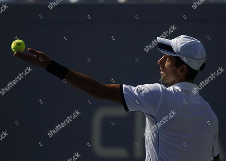 Serbia's Novak Djokovic in Action During His First Round Victory Over Ireland's Conor Niland United States New York