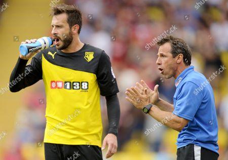 Watford Head Coach / Manager Gianfranco Zola Talks to Marco Cassetti United Kingdom London
