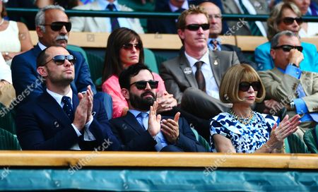 L-r Actor Jude Law Night-club Impresario Simon Hammerstein and Vogue Magazine Editor Anna Wintour Look On From the Royal Box United Kingdom London