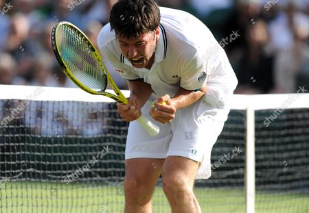 Oliver Golding of Great Britain Shouts During His Mens Singles First Round Match Against Igor Andreev of Russia On Day One of the Wimbledon Lawn Tennis Championships United Kingdom London