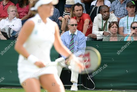 Line Judge Andrew Mcdougall Who Was Recently Injured by David Nalbandian at Queen's Club Looks On During His Duties On an Outside Court United Kingdom London