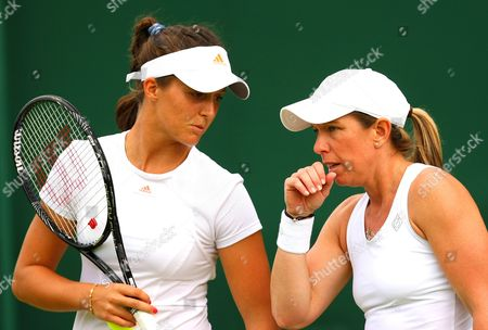Laura Robson of Great Britain and Lisa Raymond of Usa Talk Tactics in Doubles During the Championships Wimbledon 2013 United Kingdom London