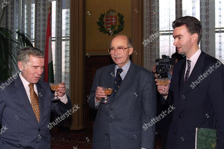 Hungarian Prime Minister Gyula Horn (l) Meets with Otto Von Habsburg (c) and His Son Georg Von Habsburg in Budapest Hungary 16 December 1996 Gyula Horn Appointed the 32-year-old Archduke Georg Von Habsburg Grandson of the Last King of Hungary As Hungary's Ambassador to European Union Hungary Budapest