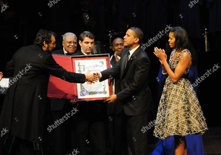Stock Picture of US President Barack Obama with the performers, including David Selby
