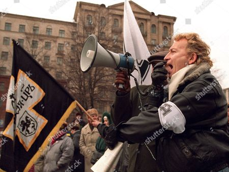 The Leader of Russian Nationalists Party Alexander Ivanov-sukharevsky Addresses His Followers During a Nationalist Demonstration in Moscow Russia 18 February 1995 the Demonstrators Gathered to Show Support For the Russian Military Actions in Chechnya Russian Federation Moscow