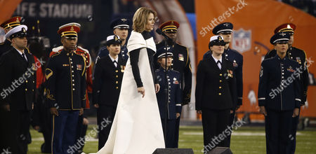 Stock Image of Us Opera Singer Ren?e Fleming Performs the National Anthem Before the Start of Super Bowl Xlviii Between the Denver Broncos and the Seattle Seahawks at the Metlife Stadium in East Rutherford New Jersey Usa 02 February 2014 United States East Rutherford