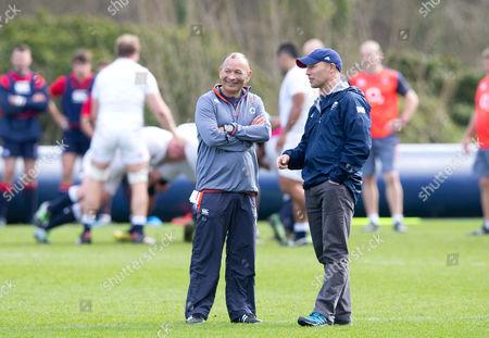 England Head Coach Eddie Jones chats with Danny Kerry - England Hockey Coach