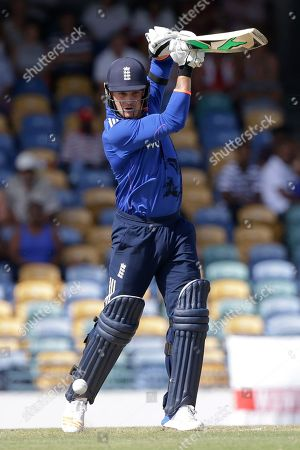 England's Jason Roy plays a shot from the bowling of West Indies' captain Jason Holder during their 3rd One Day International cricket match at the Kensington Oval in Bridgetown, Barbados