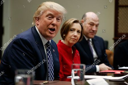 Donald Trump, Gary Cohn, Dorothy Savarese President Donald Trump, accompanied by Cape Cod Five Cents Savings Bank CEO Dorothy Savarese, center, and National Economic Council Director Gary Cohn, speaks during a meeting with leaders from small community banks, in the Roosevelt Room of the White House in Washington