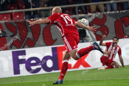 Olympiacos? Esteban Cambiasso reacts after scoring the 1-0 lead during the UEFA Europa League Round of 16 first leg match Olympiacos vs Besiktas in Athens, Greece, 09 March 2017.