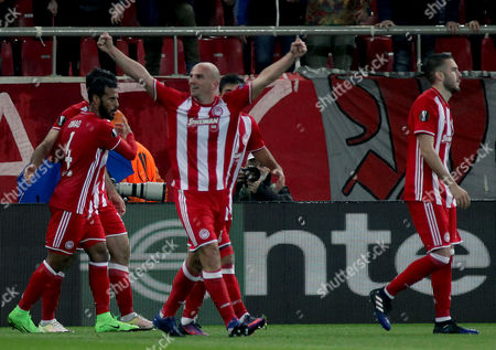 Olympiacosâ?? Esteban Cambiasso (C) reacts after scoring the 1-0 lead during the UEFA Europa League Round of 16 first leg match Olympiacos vs Besiktas in Athens, Greece, 09 March 2017.