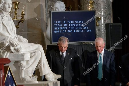Ray LaHood, Jim Baker Transportation Secretary Ray LaHood, left, and Secretary of State James A. Baker III, stand in prayer as they attend a memorial service in Statuary Hall on Capitol Hill in Washington, honoring former Illinois Rep. Bob Michel. Michel, who represented Illinois' 18th Congressional District and served as House minority leader from 1981 to 1995, died on February 17, 2017