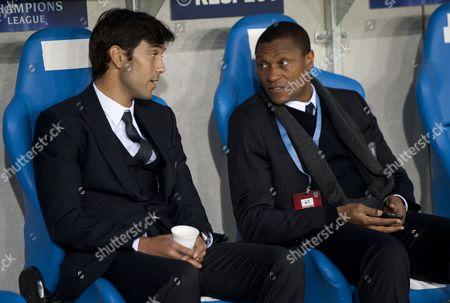 Paulo Ferreira of Chelsea Talks to Coach Michael Emenalo Belgium Genk