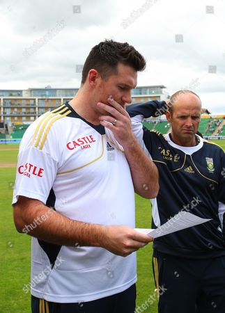 An Emotional South Africa Captain Graeme Smith Reads A Statement From Wicket-keeper Mark Boucher Announcing His Retirement From Test Cricket Following the Serious Eye Injury He Sustained Yesterday United Kingdom Taunton