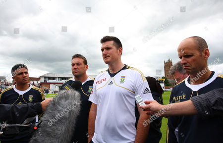 An Emotional South African Team of Team Doctor Mohammed Moosajee Jacque Kallis Team Captain Graeme Smith and Coach Gary Kirsten Read A Statement From Wicket-keeper Mark Boucher Announcing His Retirement From Test Cricket Following the Serious Eye Injury He Sustained Yesterday United Kingdom Taunton