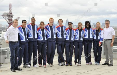 Team Gb Chef De Mission Andy Hunt (left) and Team Gb Athletics Head Coach Charles Van Commenee (right) Stand with Some of the Team Gb Track and Field Athletes Who Have Been Selected to the 2012 London Olympic Team: Adam Gemili Andrew Osagie Goldie Sayers Greg Rutherford Rhys Williams Yamile Aldama Lisa Dobriskey Aniyika Onuora and Sophie Hitchon United Kingdom London