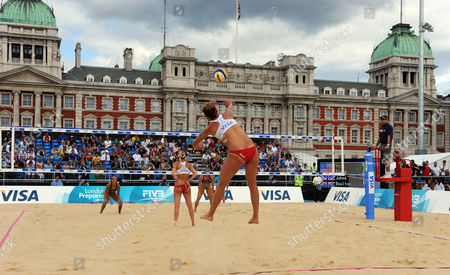 View of the Court On Horse Guards Parade During the April Ross and Jennifer Kessy (usa) V Denise Johns and Lucy Boulton (gbr) Semi-final United Kingdom London