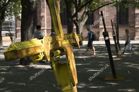 Stock Image of 'Multicolored Tow Truck' (2015) by Us Artist Nate Lowman is On Display On the Muensterplatz at the Show Art Parcours in the Context of the International Art Show Art Basel in Basel Switzerland 17 June 2015 Parcours is the Sector of the Art Show Which Engages the City's Historical Quarters with Site-specific Sculptures Interventions and Performances