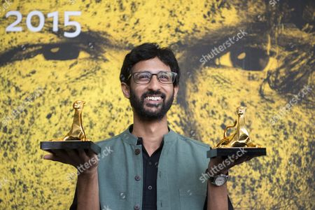 Indian Film Director Raam Reddy Raam Poses During a Photocall with the Awards 'Pardo D'oro Cineastri Del Presente -nescens Prize' and the 'Swatch First Feature Award' He Received For His Movie 'Thithi' During a Photocall at the 68th Locarno International Film Festival in Locarno Switzerland 15 August 2015 the Festival Runs From 05 to 15 August