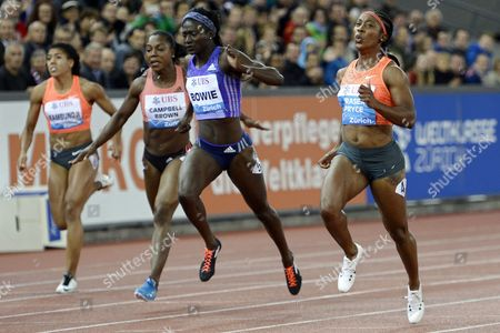 (l-r) Mujinga Kambundji From Switzerland Veronica Campbell-brown From Jamaica Tori Bowie From the Usa and Shelly-ann Fraser-pryce From Jamaica Compete in the Women's 100m Race During the Weltklasse Iaaf Diamond League International Athletics Meeting at the Letzigrund Stadium in Zurich Switzerland 03 September 2015 Fraser-pryce Won the Race