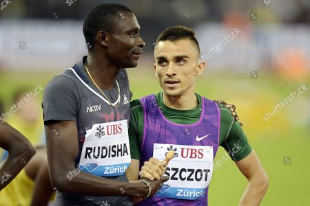 Adam Kszczot (r) From Poland is Congratulated by David Rudisha (l) From Kenya After Winning the Men's 800m Race During the Weltklasse Iaaf Diamond League International Athletics Meeting at the Letzigrund Stadium in Zurich Switzerland 03 September 2015