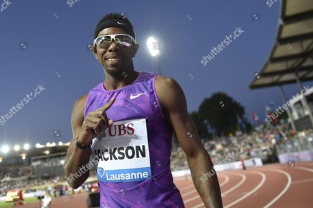 Bershawn Jackson From the Usa Reacts After the Men's 400m Hurdles Race at the Athletissima Iaaf Diamond League Athletics Meeting in the Stade Olympique De La Pontaise in Lausanne Switzerland 09 July 2015