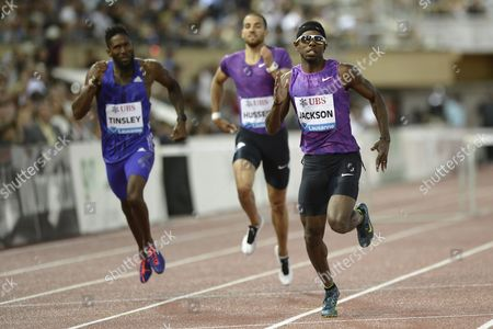 Michael Tinsley From the Usa Kariem Hussein From Switzerland and Bershawn Jackson From the Usa From Left Compete in the Men's 400m Hurdles Race at the Athletissima Iaaf Diamond League Athletics Meeting in the Stade Olympique De La Pontaise in Lausanne Switzerland 09 July 2015