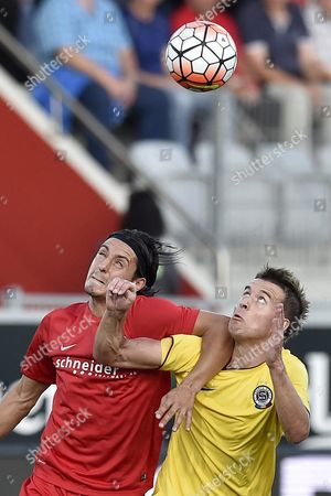 Thun's Nelson Ferreira Left in Action Against Prague's Lukas Marecek During the Uefa Europa League Playoff Match Between Switzerland's Fc Thun and Czech Ac Sparta Prague at the Arena Stadium in Thun Switzerland Thursday August 27 2015