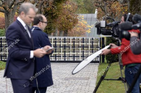 Journalists in Front of the Fifa Headquarter Front Are Pictured in Zuerich Switzerland 08 October 2015 Fifa President Joseph Blatter Vice-president and Uefa President Michel Platini and General Secretary Jerome Valcke Are Provisionally Banned For 90 Days by Fifa Ethics Committee