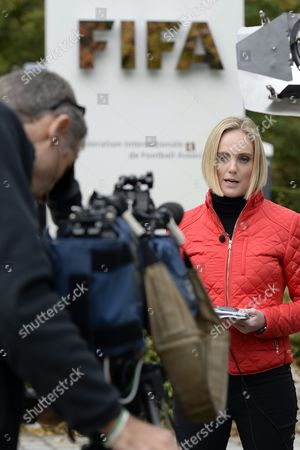 Amanda Davies Sports Anchor/correspondent Cnn in Front of the Fifa Headquarter in Zuerich Switzerland 08 October 2015 Fifa President Joseph Blatter Vice-president and Uefa President Michel Platini and General Secretary Jerome Valcke Are Provisionally Banned For 90 Days by Fifa Ethics Committee