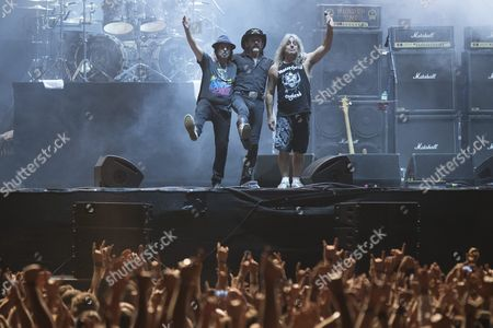 Motorhead Guitarist Philip Campbell (l-r) Singer and Bassist Lemmy Kilmister and Drummer Mikkey Dee Take a Bow at the Greenfield Festival 2015 in Interlaken Switzerland 12 June 2015 the Music Festival Runs From 11 to 13 June