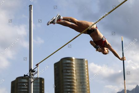 Germany's Silke Spiegelburg in Action During the Women's Pole Vault Competition at the International Athletics Meeting in Lucerne Switzerland Tuesday July 14 2015