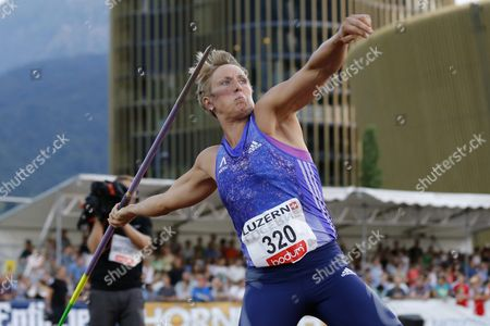 Germany's Christina Obergfoell in Action During the Women's Javelin Competition at the International Athletics Meeting in Lucerne Switzerland Tuesday July 14 2015