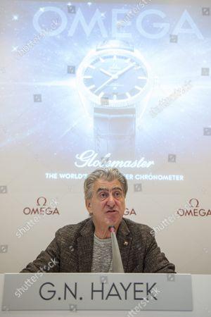 Omega President Stephen Urquhart Speaks During a Press Conference On the New Watch 'Globemaster' in Biel/bienne Switzerland 21 October 2015