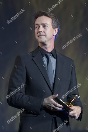 Us Actor Edward Norton Looks On After Receiving the Award 'Excellence Award' For His Films at the 68th Locarno International Film Festival in Locarno Switzerland 05 August 2015 the Festival Runs From 05 to 15 August Norton Presented Before the Official Opening His Film 'Fight Club' Directed by David Fincher to the Public